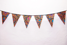 Afrikaanse vlaggenlijn BABY GOLD | slinger met vlaggetjes van Wax Print stof  | 4 meter