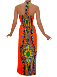 AFRICAN GYPSY HALTERJURK mozaiek ORANJE | sexy lange jurk in 3 maten