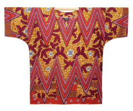 Afrikaans DASHIKI shirt ZIGZAG RED | african wax print | unisex party festival blouse