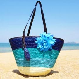 STRANDTAS BLOEM blauw | zomerse shopper van stro