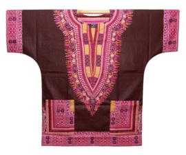 Afrikaans DASHIKI shirt ANGELINA BROWN | african Wax Java Print van VLISCO | unisex