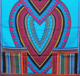 AFRIKAANS DASHIKI SHIRT heart AZUURBLAUW   unisex zomer party festival blouse