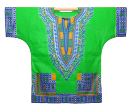 Afrikaans DASHIKI shirt ANGELINA GREEN-BLUE | african Wax Java Print van VLISCO | unisex