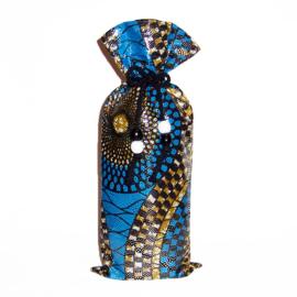 BLUE PARTY wijntas van afrikaanse wax print | wine bag met koord en houten kralen