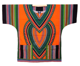 AFRIKAANS DASHIKI SHIRT heart ORANJE | unisex zomer party festival blouse