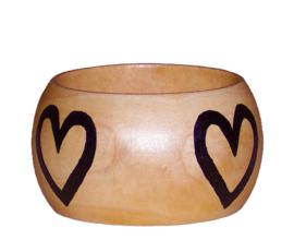 BANGLE PATIENCE | 4,8 cm brede houten armband met West-Afrikaans Adinkra Symbool