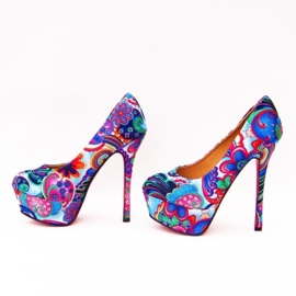 FLOWER POWER pumps maat 38 blauw (#1) bloemenprint