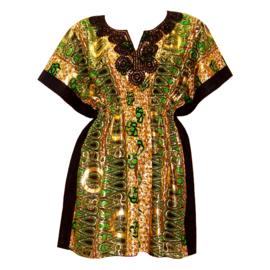 Afrikaanse dashiki jurk SONIA | kaftan-jurkje met elastische taille | african Wax Print met gouden opdruk