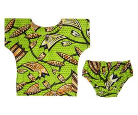 DASHIKI SET BABY BOY GREEN | shirt + luierbroekje | Vlisco Super-Wax | maat 62/68 = 4-6 maanden