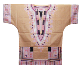 Afrikaans DASHIKI shirt ANGELINA CHAMPAGNE | african Wax Java Print van VLISCO | unisex