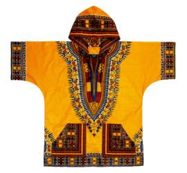 DASHIKI hoodie ANGELINA YELLOW   african Wax Print van VLISCO   unisex   maat L
