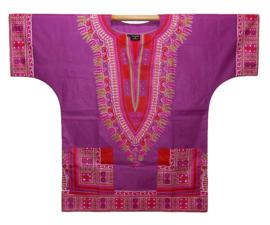 Afrikaans DASHIKI shirt ANGELINA PURPLE | african Wax Java Print van VLISCO | unisex