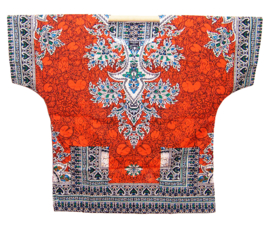 AFRICAN DASHIKI SHIRT etnische print ORANGE | unisex zomer party festival blouse