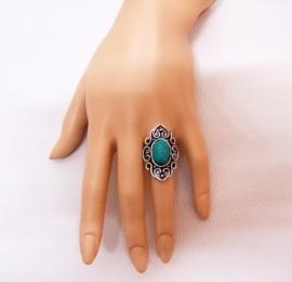RING TURQUOISE #1 tibetaans zilver met turquoise steen