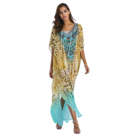 CHIFFON JURK animal print superlange kaftan jurk one size