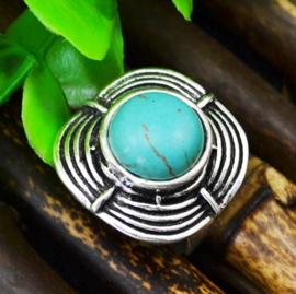 RING TURQUOISE #8 tibetaans zilver met turquoise steen