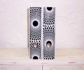 Ordners WIT met rug van afrikaanse wax print | 8 cm breed | set van 2
