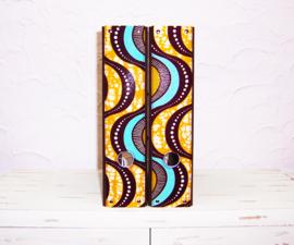 Ordners DONKERBRUIN met afrikaanse wax print | 8 cm breed | set van 2