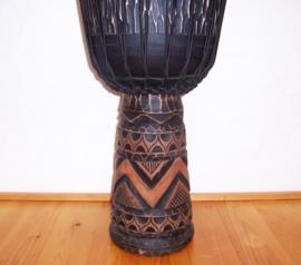 DJEMBE TROMMEL afrikaanse woondeco met houtsnijwerk size L #5