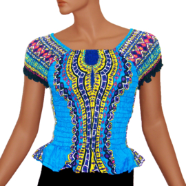 AFRICAN GYPSY SMOCK TOP mozaiek TURQUOISE | baby doll topje in 3 maten