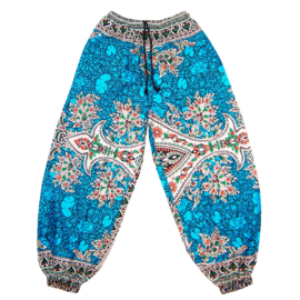 DASHIKI HAREM BROEK etnische print AQUA | dames party aladdin pants maat M/L
