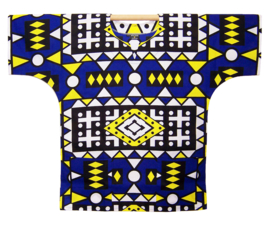 Afrikaans DASHIKI shirt SAMACACA ANGOLA blauw | african wax print | unisex party festival blouse