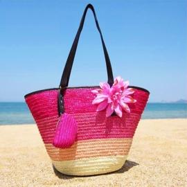 STRANDTAS BLOEM roze | zomerse shopper van stro