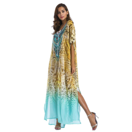 CHIFFON JURK animal print superlange kaftan jurk one size