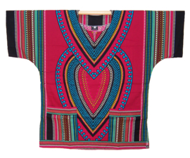 AFRIKAANS DASHIKI SHIRT heart DONKERROOD | unisex zomer party festival blouse