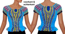 AFRICAN GYPSY SMOCK TOP mozaiek DONKERBLAUW | baby doll topje in 3 maten