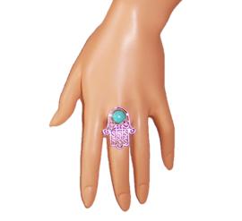 RING HAND of FATIMA tibetaans zilver met turquoise steen