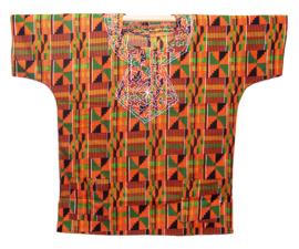 CULTURAL KENTE DASHIKI ORANJE | unisex afrikaans Ashanti shirt