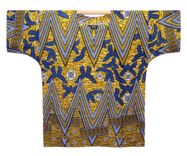 Afrikaans DASHIKI shirt ZIGZAG BLUE | african wax print | unisex party festival blouse