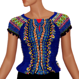 AFRICAN GYPSY SMOCK TOP mozaiek DONKERBLAUW | baby doll topje in 3 maten