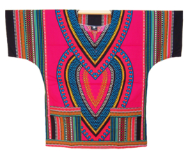AFRIKAANS DASHIKI SHIRT heart PINK | unisex zomer party festival blouse