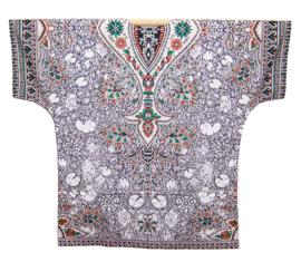 AFRICAN DASHIKI SHIRT etnische print WHITE   unisex zomer party festival blouse