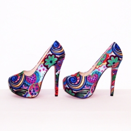 FLOWER POWER pumps maat 38 blauw (#2) bloemenprint