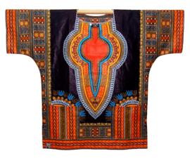 Afrikaans DASHIKI shirt ZWART-ORANJE | african wax print | unisex party blouse