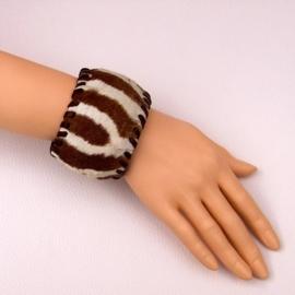 NAOMI leren afrikaanse armband met zebrahuid size M