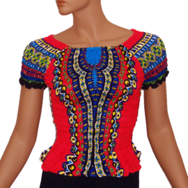 AFRICAN GYPSY SMOCK TOP mozaiek ROOD | baby doll topje in 3 maten