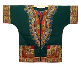 DASHIKI vest met rits ANGELINA DARK GREEN   african Wax Print van VLISCO   unisex   maat L