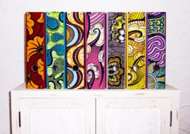 Ordners ZWART met rug van afrikaanse wax print | 8 cm breed | set van 2