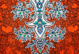AFRICAN DASHIKI SHIRT etnische print ORANGE | unisex zomer party festival blouse