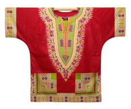 Afrikaans DASHIKI shirt ANGELINA DARK RED-GREEN | african Wax Java Print van VLISCO | unisex