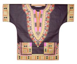 Afrikaans DASHIKI shirt ANGELINA DARK GREY | african Wax Java Print van VLISCO | unisex
