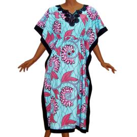 KAFTANJURK ZARINA BLAUW afrikaanse wax print | ONE SIZE past maat M-XXXL