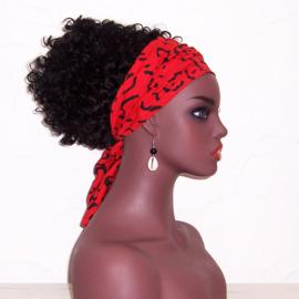 SJAALTJE LEOPARD RED | afrikaans haarbandje | polyester 103 x 20 cm