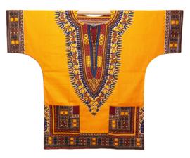 Afrikaans DASHIKI shirt ANGELINA YELLOW | african Wax Java Print van VLISCO | unisex