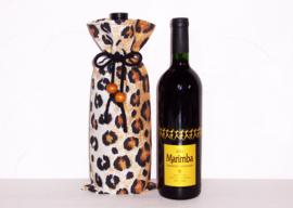 LEOPARD wijntas van katoen met dierenprint en kralen   wijnfles cover