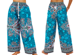 DASHIKI BROEK etnische print AQUA | unisex zomer party festival pants in 3 maten